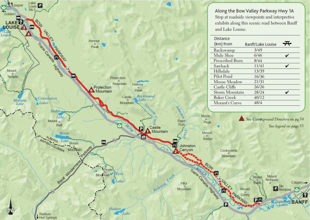 Bow Valley Parkway map