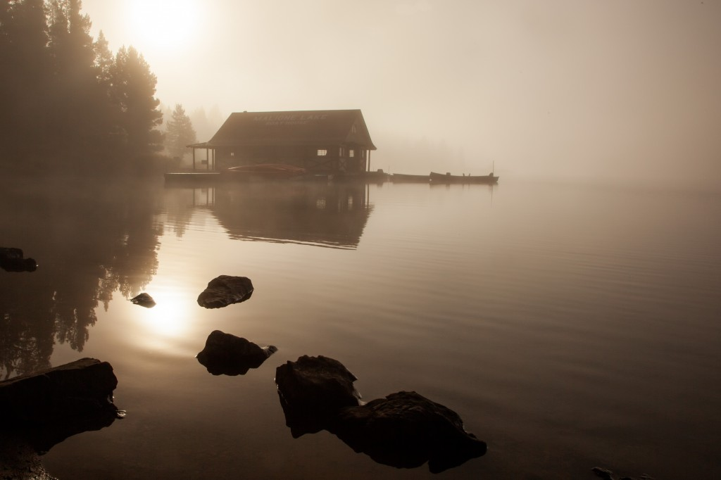 """Foggy Sunrise at Maligne Lake"" - contest entry by Lloyd Dykstra"