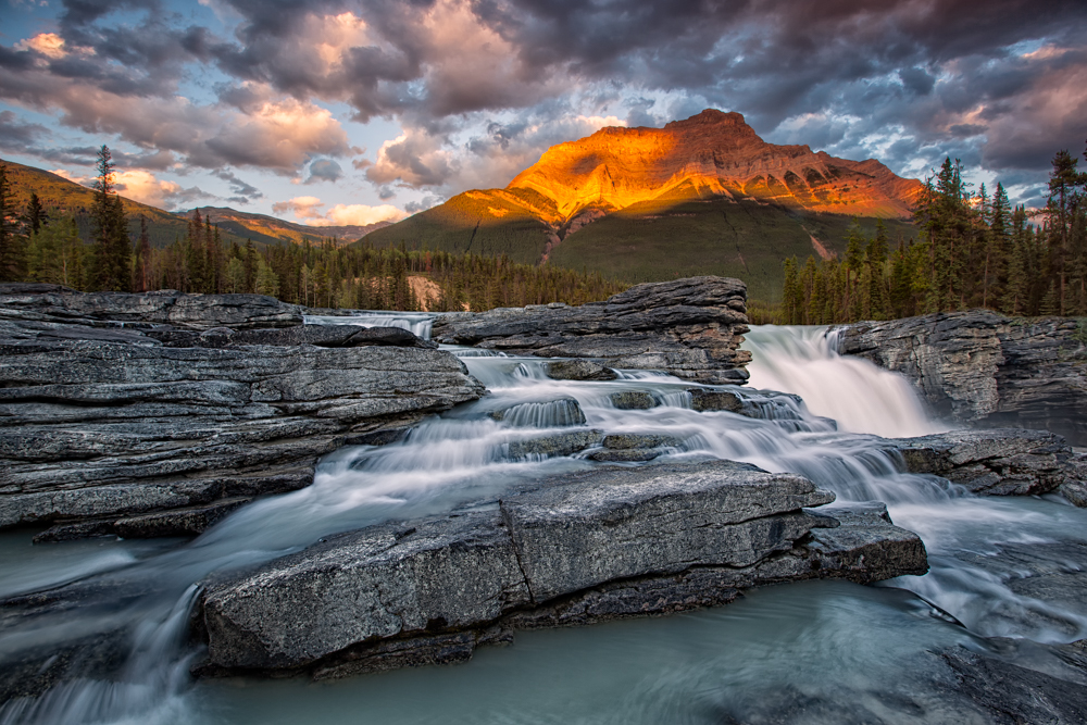 Athabasca Falls and Mt. Kerkeslin