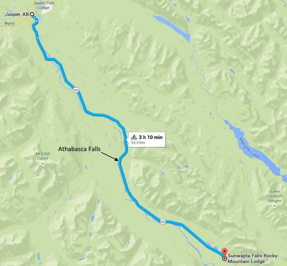 Day 1 Map, Jasper to Sunwapta Falls Lodge, 54 km (34 miles).