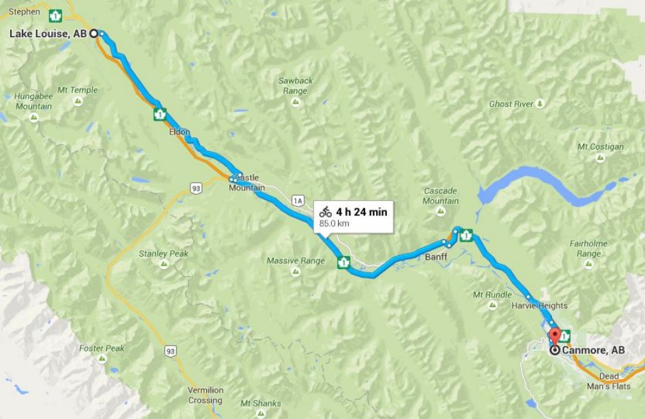 Day 4 Map, Lake Louise to Canmore, 85 km, 953 miles).