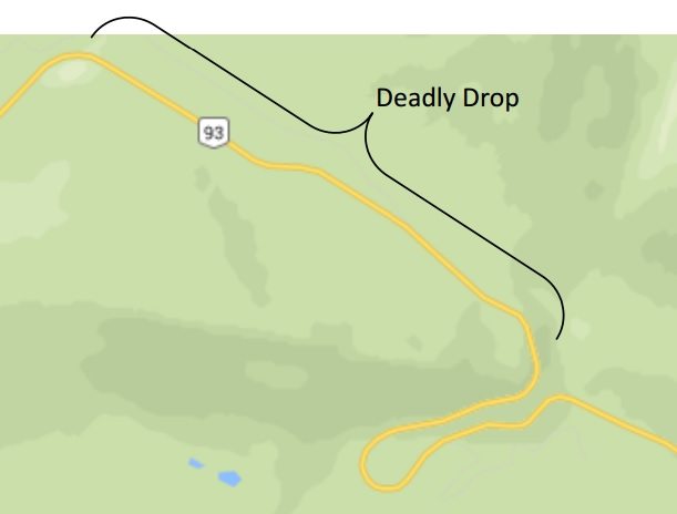 The Deadly Drop: ~3.5 km long and averaging about a 10% grade.