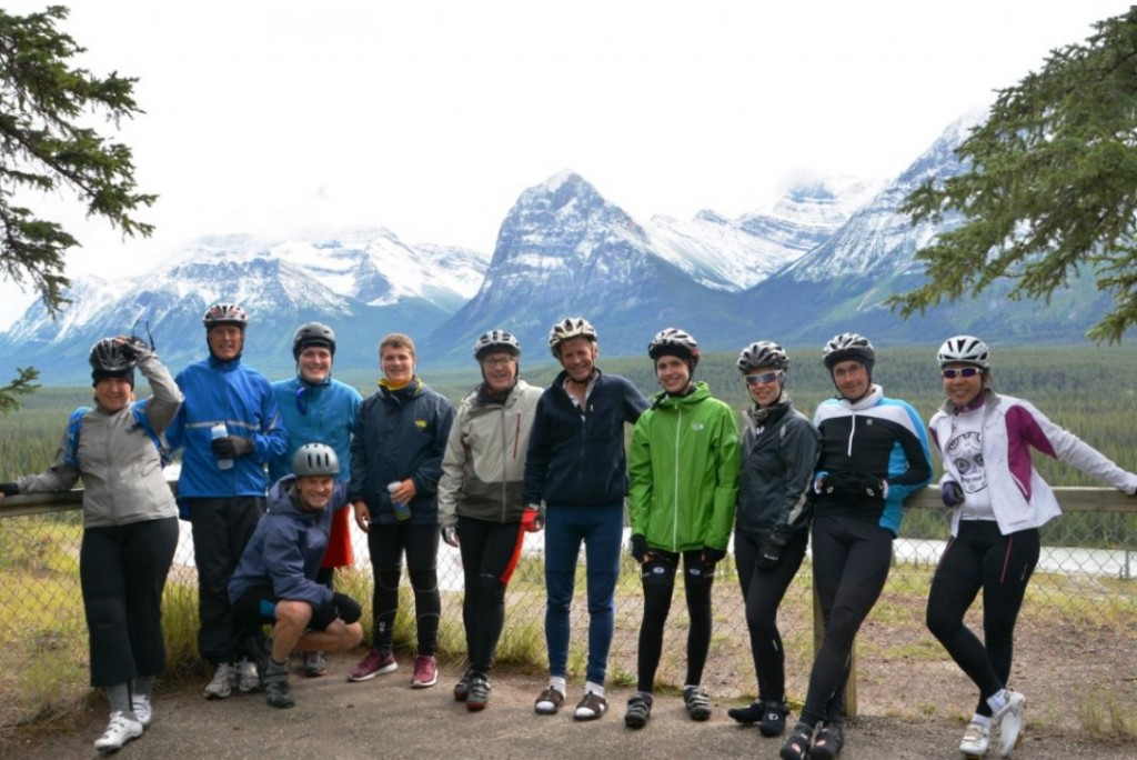 Group shot with Athabasca River and Mt. Belanger, Brussels Peak and Catacombs Mountain in the background. From left: Katherine, Brent, Jamie, me (kneeling), Liam, John, Gerry, Myles, Kaileigh, Sean, and Ellaine.