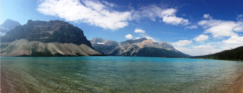 Panorama view of Bow Lake.
