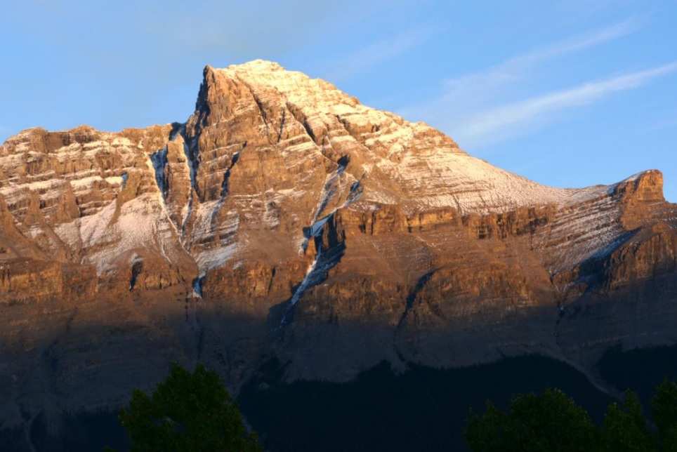 Sunset on Mt Murchison at Saskatchewan River Crossing.