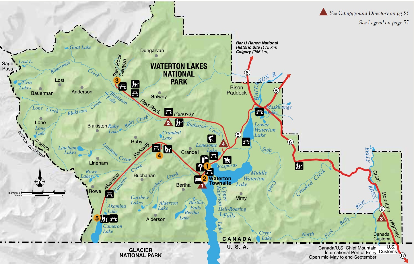 Map Of Waterton National Park Canada Experience Waterton Lakes National Park   ExperienceExperience