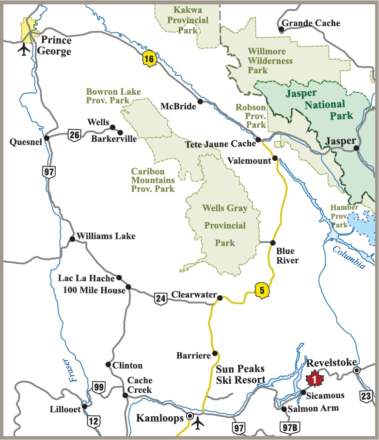 Wells Gray Provincial Park map